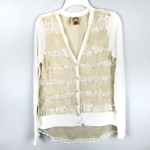 BKE Sheer Lace Floral Mixed Cream Beige Cardigan L